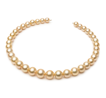 18 pouces Or 9.7-13.9mm AA-qualité des Mers du Sud 585/1000 Or Jaune-Collier de perles