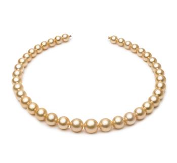18 pouces Or 9.2-12.8mm AA-qualité des Mers du Sud 585/1000 Or Jaune-Collier de perles