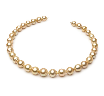 18 pouces Or 10.1-12.5mm Baroque-qualité des Mers du Sud 585/1000 Or Jaune-Collier de perles