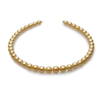 18 pouces Or 9-12mm AA-qualité des Mers du Sud 585/1000 Or Jaune-Collier de perles