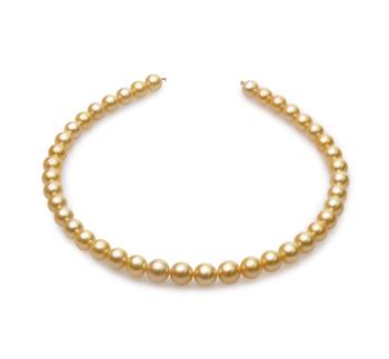 18 pouces Or 9-11.4mm AA-qualité des Mers du Sud 585/1000 Or Jaune-Collier de perles