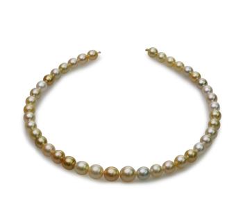 18 pouces Multicolore 8.2-12mm Baroque-qualité des Mers du Sud 585/1000 Or Jaune-Collier de perles