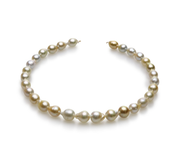 18 pouces Multicolore 10-13mm Baroque-qualité des Mers du Sud 585/1000 Or Jaune-Collier de perles