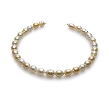 18 pouces Multicolore 10.4-13mm Baroque-qualité des Mers du Sud 585/1000 Or Jaune-Collier de perles
