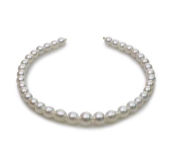 18 pouces Blanc 8.3-14mm Baroque-qualité des Mers du Sud 585/1000 Or Jaune-Collier de perles