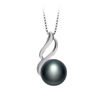 Adalia Noir 10-11mm AAA-qualité perles d'eau douce 925/1000 Argent-pendentif en perles