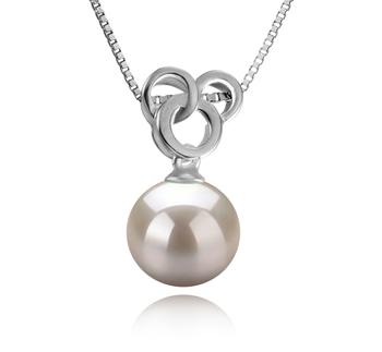 Adelina Blanc 9-10mm AAAA-qualité perles d'eau douce 925/1000 Argent-pendentif en perles