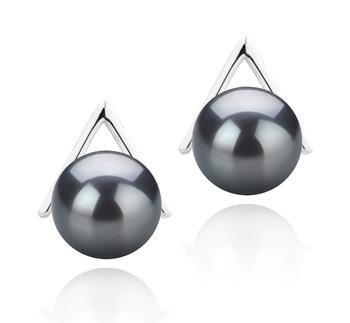 L'Afrique Noir 8-9mm AAAA-qualité perles d'eau douce 925/1000 Argent-Boucles d'oreilles en perles