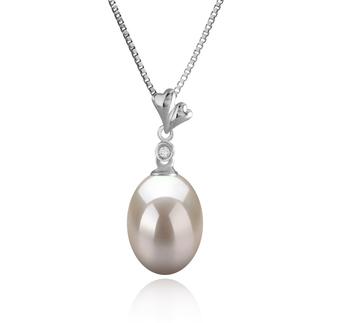 Alaska Blanc 9-10mm AAA-qualité perles d'eau douce 925/1000 Argent-pendentif en perles