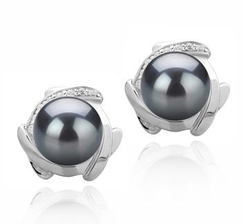 Alba Noir 8-9mm AAAA-qualité perles d'eau douce 925/1000 Argent-Boucles d'oreilles en perles