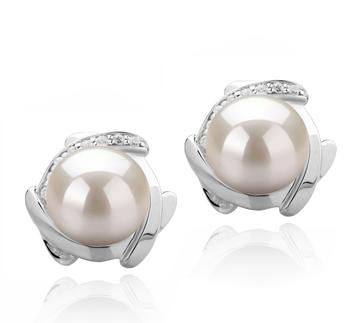 Alba Blanc 8-9mm AAAA-qualité perles d'eau douce 925/1000 Argent-Boucles d'oreilles en perles