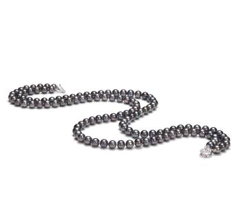 Alexandra Noir 6-7mm AA-qualité perles d'eau douce 925/1000 Argent-Collier de perles