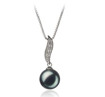Alicia Noir 9-10mm AA-qualité perles d'eau douce 925/1000 Argent-pendentif en perles