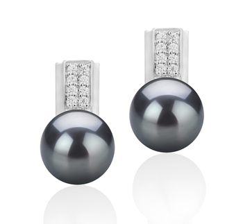 Alina Noir 8-9mm AAA-qualité perles d'eau douce 925/1000 Argent-Boucles d'oreilles en perles