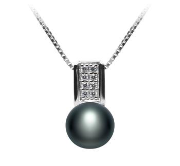 Alina Noir 8-9mm AAA-qualité perles d'eau douce 925/1000 Argent-pendentif en perles