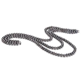 Aline Noir 6-7mm AA-qualité perles d'eau douce -Collier de perles
