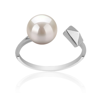 Alma Blanc 7-8mm AAAA-qualité perles d'eau douce 925/1000 Argent-Bague perles