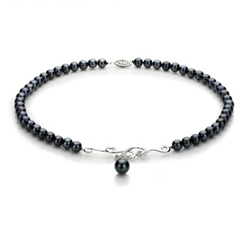 Almira Noir 6-9mm AA-qualité Akoya du Japon 925/1000 Argent-Collier de perles