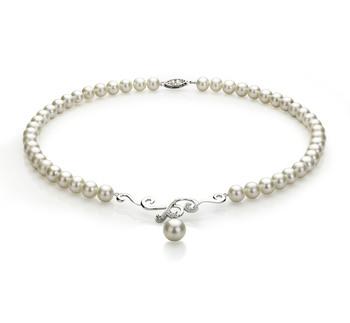 Almira Blanc 6-10mm AA-qualité perles d'eau douce 925/1000 Argent-Collier de perles