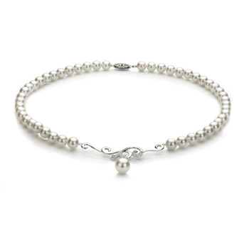 Almira Blanc 6-9mm AA-qualité Akoya du Japon 925/1000 Argent-Collier de perles