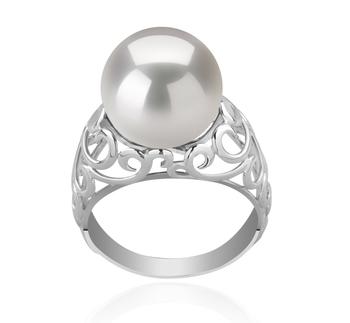 Alva Blanc 12-13mm AA+-qualité perles d'eau douce - Edison 925/1000 Argent-Bague perles