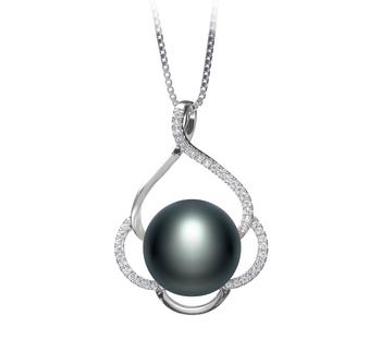 Alyssa Noir 12-13mm AA-qualité perles d'eau douce 925/1000 Argent-pendentif en perles