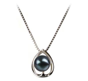 Amanda Noir 6-7mm AA-qualité Akoya du Japon 925/1000 Argent-pendentif en perles