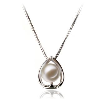 Amanda Blanc 6-7mm AAAA-qualité perles d'eau douce 925/1000 Argent-pendentif en perles