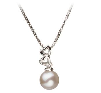 Ambre Blanc 6-7mm AA-qualité Akoya du Japon 925/1000 Argent-pendentif en perles