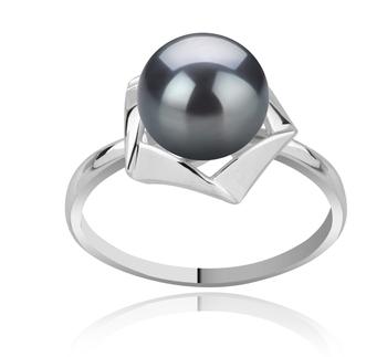 Anais Noir 8-9mm AAA-qualité perles d'eau douce 925/1000 Argent-Bague perles