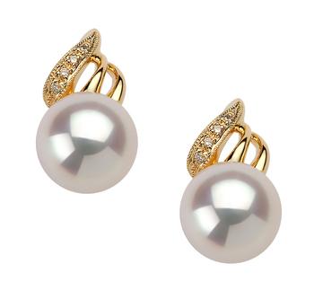 Anastasia Blanc 8-9mm AAA-qualité Akoya du Japon 585/1000 Or Jaune-Boucles d'oreilles en perles