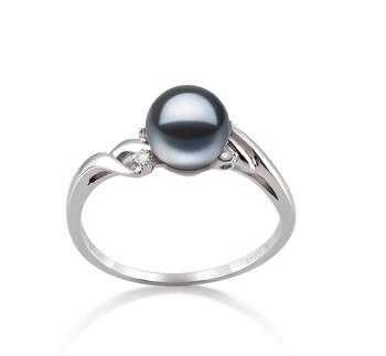 Andrea Noir 6-7mm AAAA-qualité perles d'eau douce 585/1000 Or Blanc-Bague perles