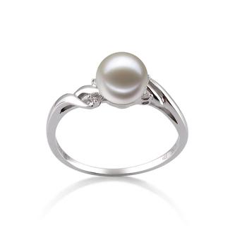 Andrea Blanc 6-7mm AAAA-qualité perles d'eau douce 585/1000 Or Blanc-Bague perles