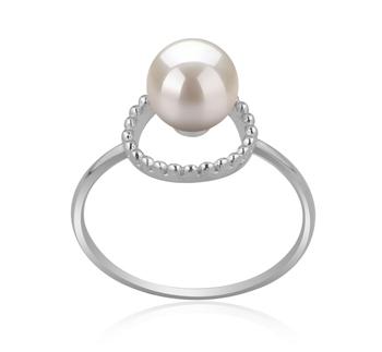 Andy Blanc 6-7mm AAAA-qualité perles d'eau douce 925/1000 Argent-Bague perles