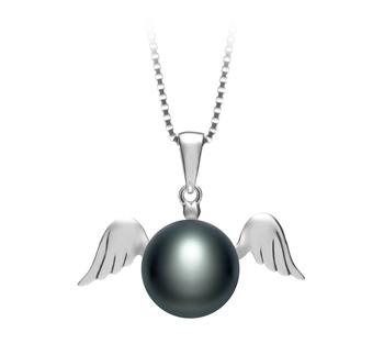 Ange Noir 9-10mm AA-qualité perles d'eau douce 925/1000 Argent-pendentif en perles