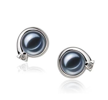 Angelina Noir 7-8mm AAAA-qualité perles d'eau douce 925/1000 Argent-Boucles d'oreilles en perles