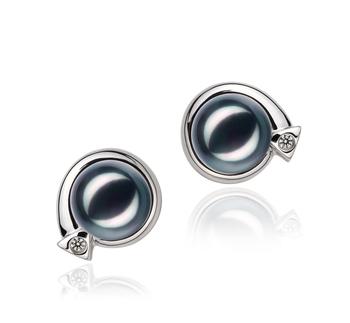 Angelina Noir 7-8mm AA-qualité Akoya du Japon 925/1000 Argent-Boucles d'oreilles en perles