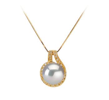 Angelique Blanc 10-11mm AAA-qualité des Mers du Sud 585/1000 Or Jaune-pendentif en perles