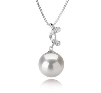 Angie Blanc 11-12mm AA+-qualité perles d'eau douce - Edison 925/1000 Argent-pendentif en perles