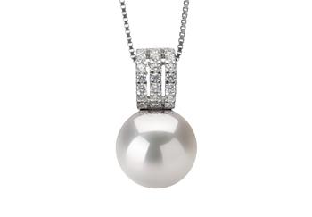 Angie Blanc 12-13mm AA+-qualité perles d'eau douce - Edison 925/1000 Argent-pendentif en perles