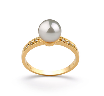 Anne Blanc 7.5-8mm AAA-qualité Akoya du Japon 585/1000 Or Jaune-Bague perles