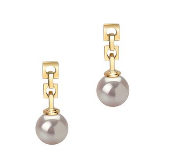 Anya Blanc 6-7mm AA-qualité Akoya du Japon 585/1000 Or Jaune-Boucles d'oreilles en perles