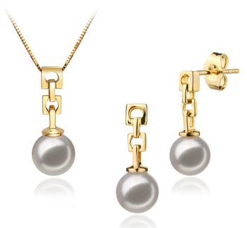Anya Blanc 6-7mm AA-qualité Akoya du Japon 585/1000 Or Jaune-un set en perles