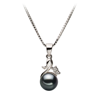 Ariana Noir 6-7mm AA-qualité Akoya du Japon 925/1000 Argent-pendentif en perles