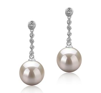 Ariel Blanc 9-10mm AAAA-qualité perles d'eau douce 925/1000 Argent-Boucles d'oreilles en perles