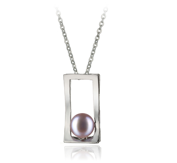 Athènes Lavande 7-8mm AA-qualité perles d'eau douce Blanc Bronze-pendentif en perles