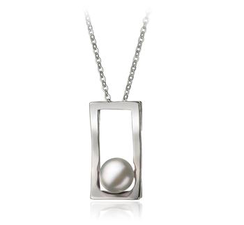 Athena Blanc 7-8mm AA-qualité perles d'eau douce Blanc Bronze-pendentif en perles