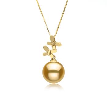 Barbara Or 10-11mm AAA-qualité des Mers du Sud 585/1000 Or Jaune-pendentif en perles