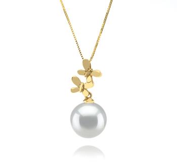 Barbara Blanc 10-11mm AAA-qualité des Mers du Sud 585/1000 Or Jaune-pendentif en perles
