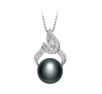 Bebra Noir 10-11mm AAA-qualité perles d'eau douce 925/1000 Argent-pendentif en perles